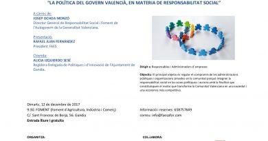 Josep Ochoa Monzó abordará 'La política del gobierno valenciano en materia de responsabilidad social' en una jornada el 12 de diciembre